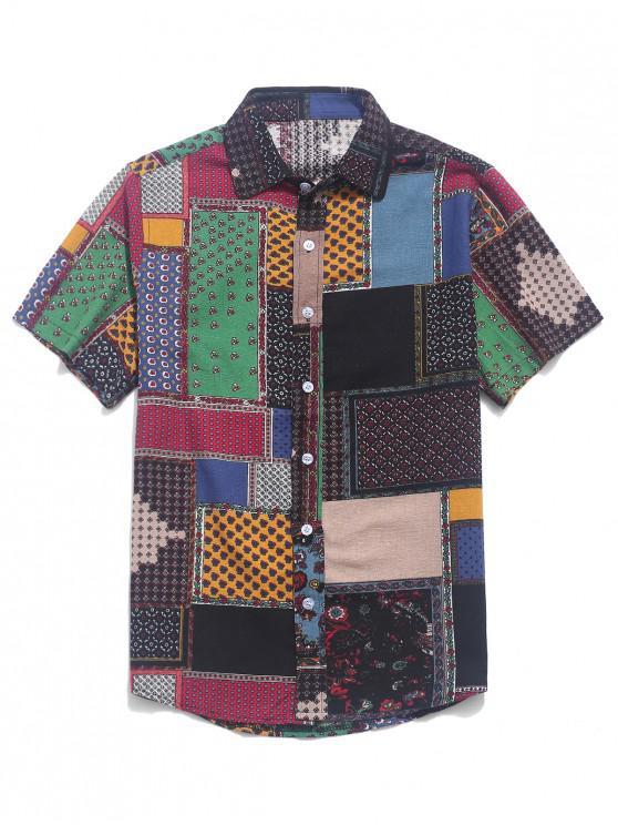 womens Tribal Ditsy Print Short Sleeves Shirt - MULTI-E 2XL