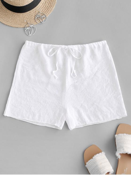 fancy Drawstring Semi-sheer Beach Cover Up Shorts - WHITE ONE SIZE