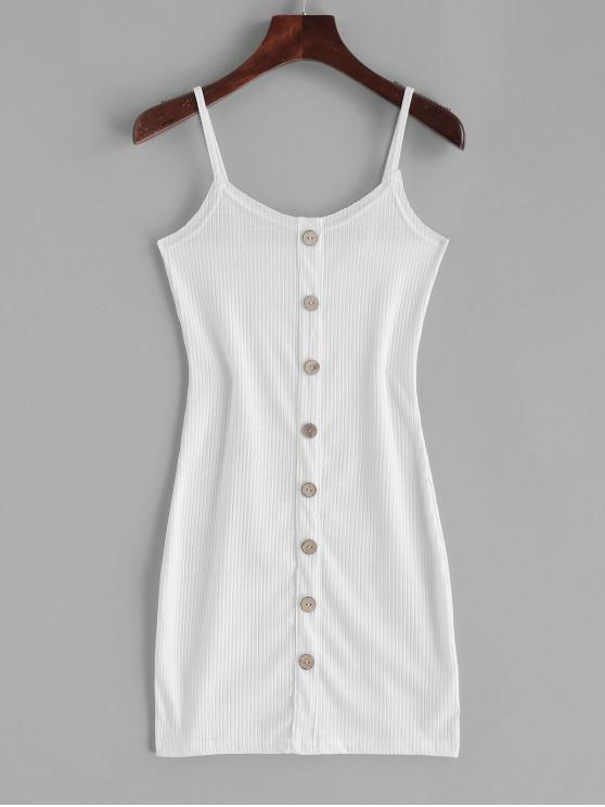 new ZAFUL Ribbed Buttoned Bodycon Dress - WHITE L