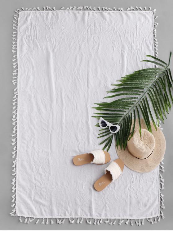 Manta de Playa Rectangular Diesño Impreso Borlas - Blanco Talla única