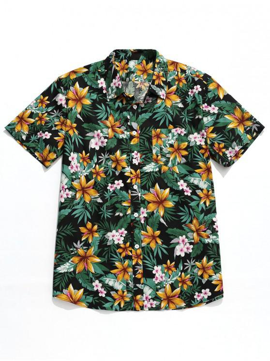 fancy Tropical Flower Print Hawaii Button Shirt - MULTI L