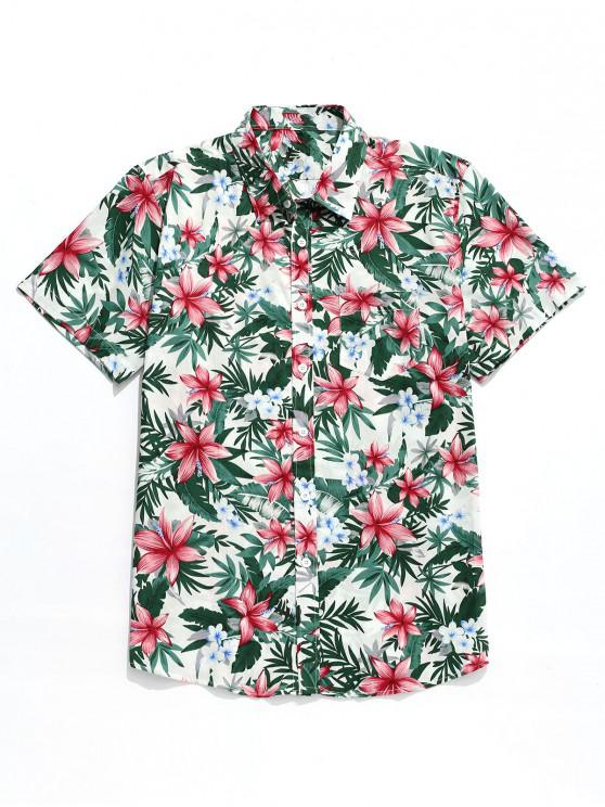 ladies Tropical Flower Print Hawaii Button Shirt - MULTI-A L