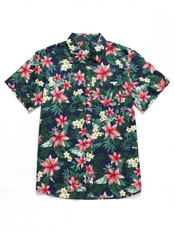 online Tropical Flower Print Hawaii Button Shirt - MULTI-B S