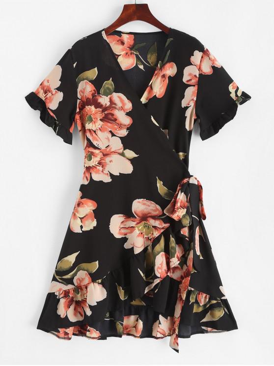 shops Ruffles Wrap Floral Mini Dress - MULTI L
