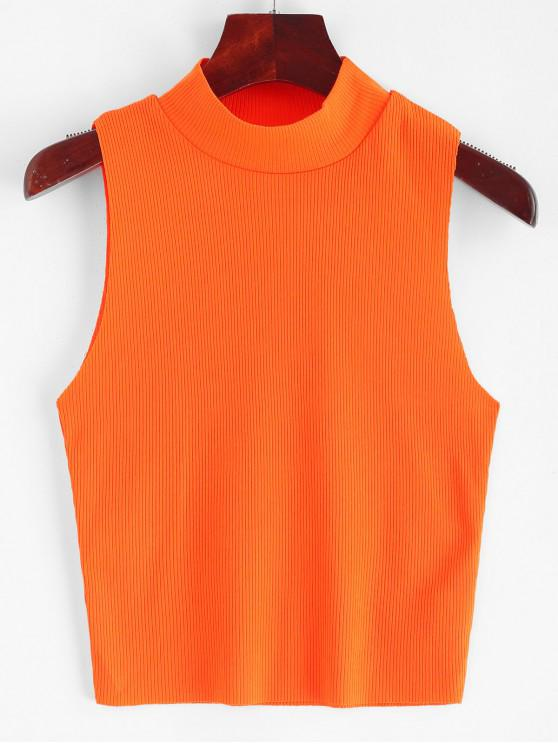 sale Ribbed Mock Neck Slim Tank Top - PUMPKIN ORANGE L