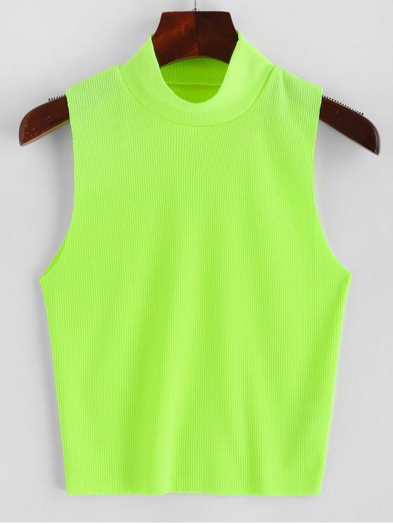 women's Ribbed Mock Neck Slim Tank Top - TEA GREEN S