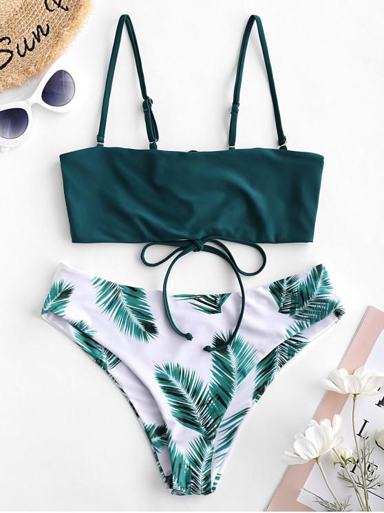 shop ZAFUL Leaf Lace-up Reversible Bandeau Bikini Swimsuit - PEACOCK BLUE L