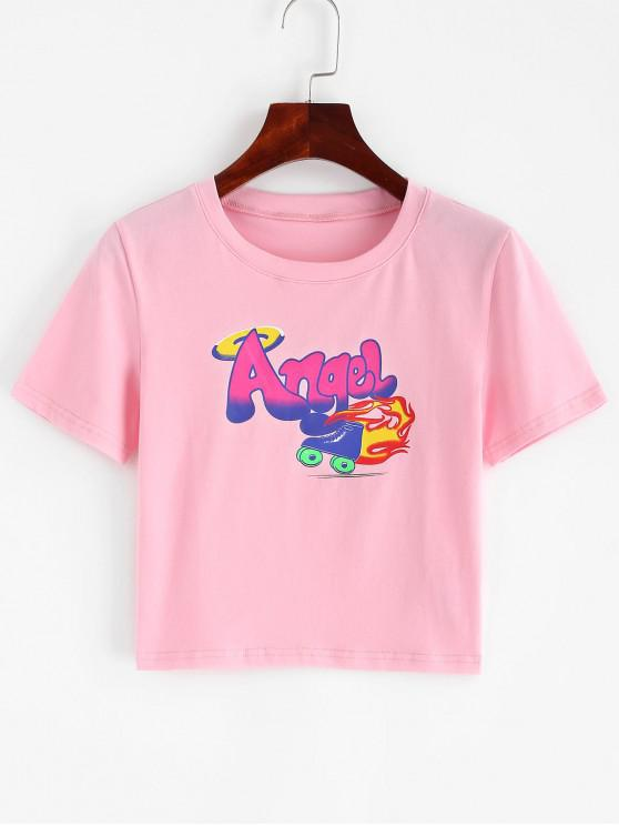 unique Angel Graphic Short Sleeve Crop T-shirt - PINK S