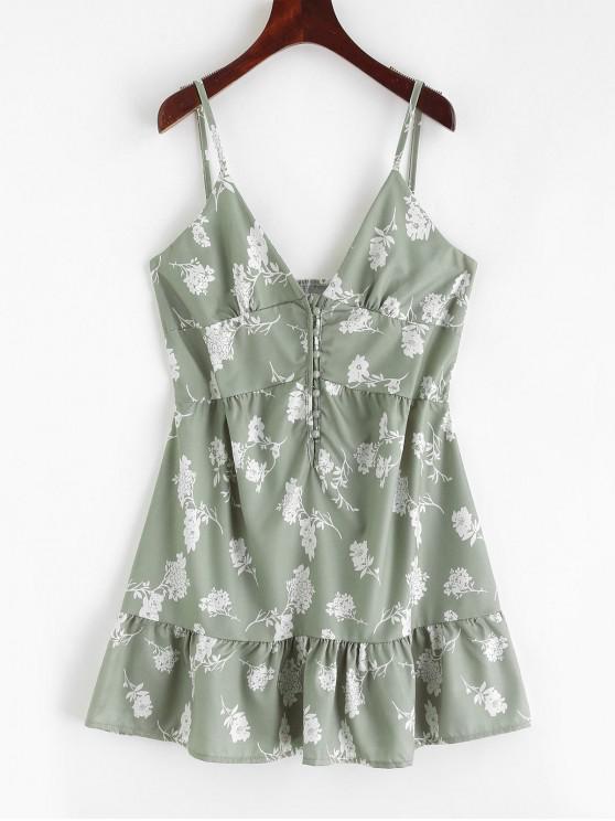 Mini Abito Cami Floral con bottoni - Verde M