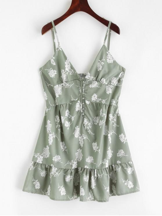 women's Half Buttoned Floral Cami Mini Dress - GREEN 2XL