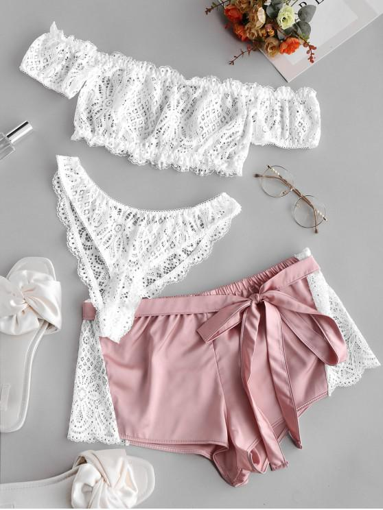 latest Off Shoulder Lace Lingerie Set with Belted Shorts - WHITE S