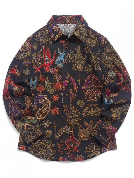 Camicia a maniche lunghe con stampa floreale tribale in paisley - Multi Colori-H 2XL