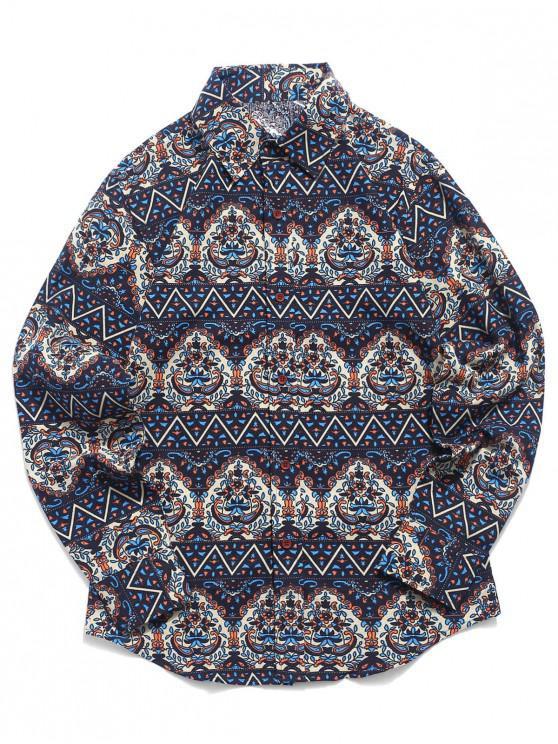 Camicia Button Stampa Ditsy Tribale - Blu Mezzanotte  M