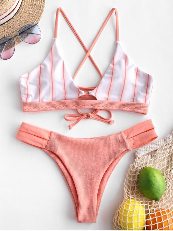 women ZAFUL Striped Panel Crisscross Ribbed Bikini Swimsuit - TANGERINE M