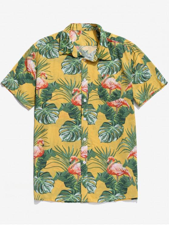 fancy Tropical Leaf Flamingo Print Beach Hawaii Shirt - MULTI XL