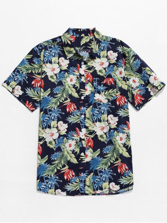 Camisa de la playa de Hawaii del estampado de flores de la planta tropical - Multicolor L