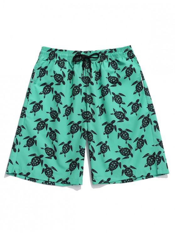 latest Turtles Allover Print Board Shorts - DEEP GREEN L