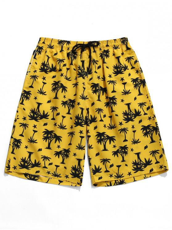 shop Hawaii Palm Print Board Shorts - YELLOW M