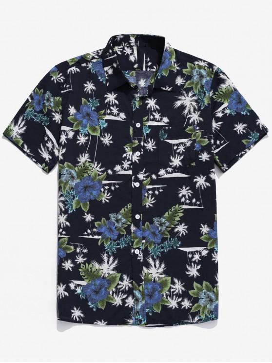 unique Tropical Palm Tree Floral Print Shirt - MULTI L