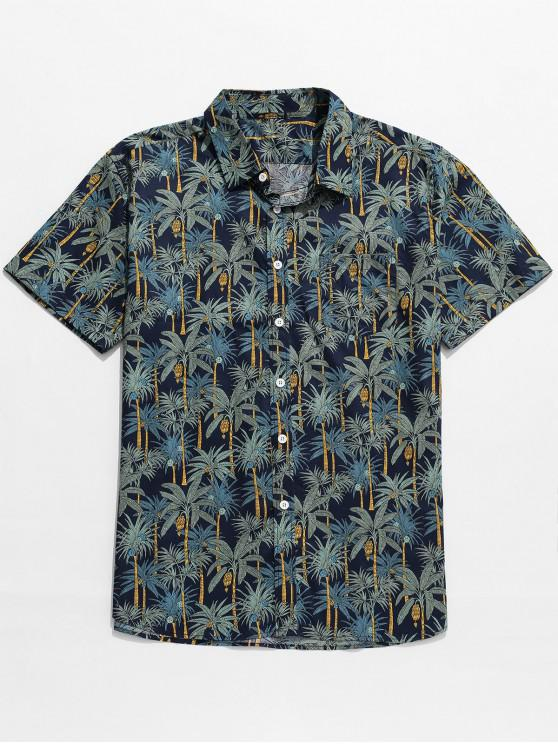 buy Palm Tree Print Beach Hawaii Shirt - MULTI-A S