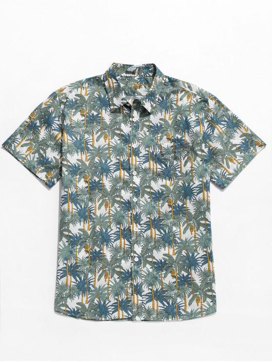 fancy Palm Tree Print Beach Hawaii Shirt - MULTI M