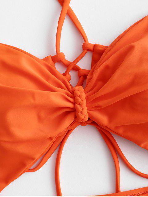 ZAFUL Перекрестные шнурки На шнуровке С вырезом Слитный Купальник - Оранжевый L Mobile