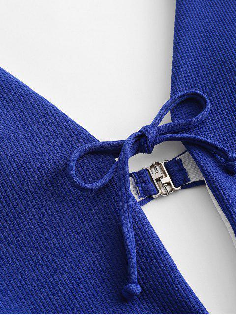 ZAFUL Traje de baño de canalé con corte acanalado - Azul Cobalto S Mobile