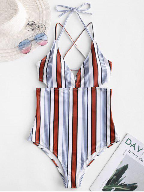 buy ZAFUL Crisscross Multi Striped One-piece Swimsuit - MULTI-A XL Mobile