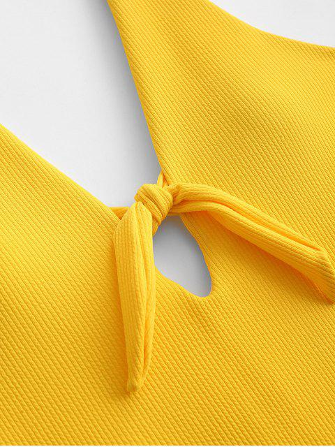 fashion ZAFUL Ribbed Tied Backless One-piece Swimsuit - BRIGHT YELLOW XL Mobile