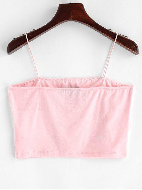 women's ZAFUL Heart Embroidered Crop Cami Top - PINK L Mobile