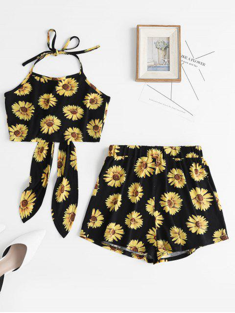 sale ZAFUL Flower Print Halter Crop Top and Shorts Set - BLACK M Mobile