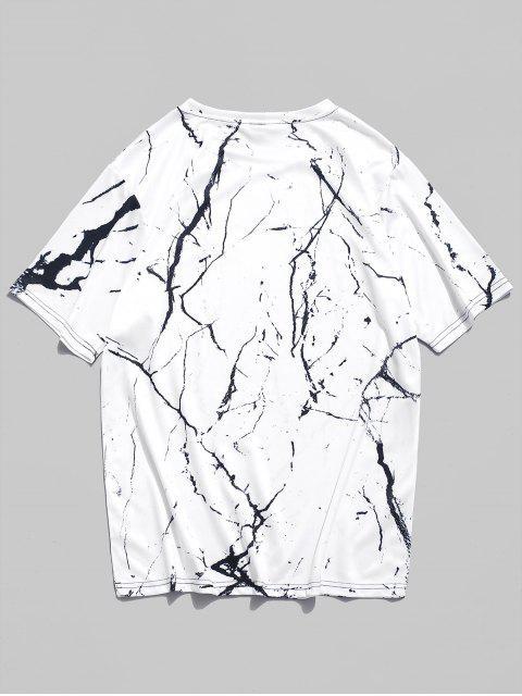 Camiseta de manga corta con estampado de grano de mármol - Blanco Natural M Mobile