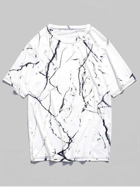Camiseta de manga corta con estampado de grano de mármol - Blanco Natural 2XL Mobile