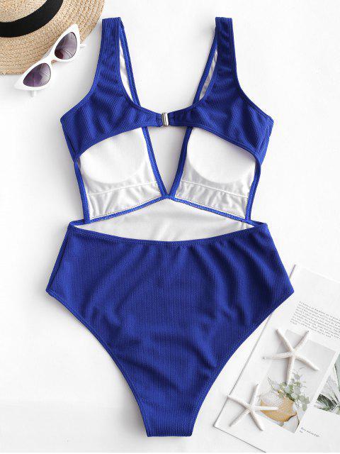 ZAFUL Ribbed Plunge Monokini Bañador - Azul de Arándanos XL Mobile