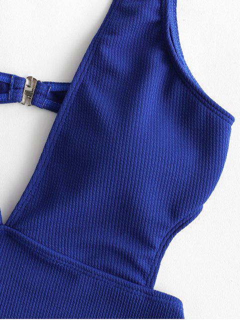 fashion ZAFUL Ribbed Plunge Monokini Swimsuit - BLUEBERRY BLUE S Mobile