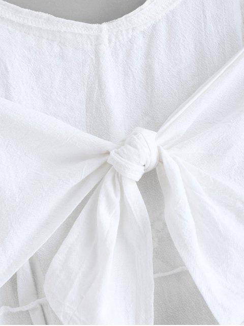 unique Crochet Panel Tassels A Line Cami Dress - WHITE M Mobile