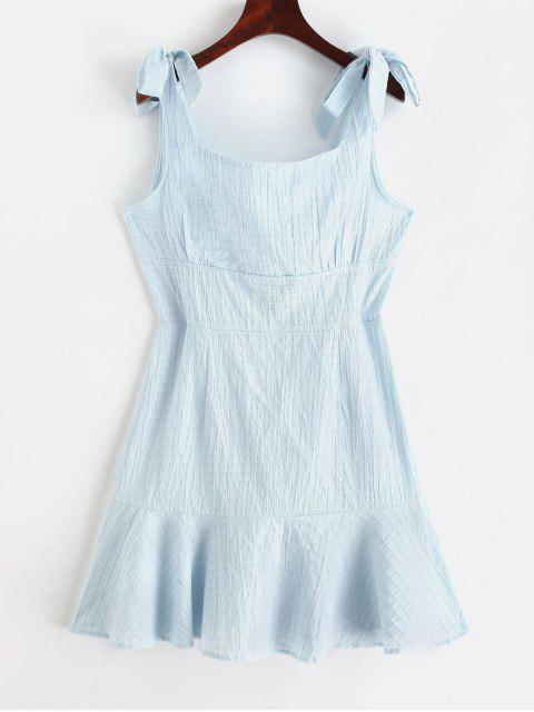 Mini Robe Ligne A à Bretelle Nouée en Couleur Unie - Bleu Léger  M Mobile