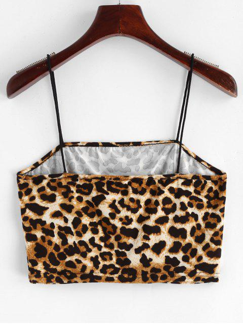affordable ZAFUL Leopard Print Crop Cami Top - LEOPARD S Mobile
