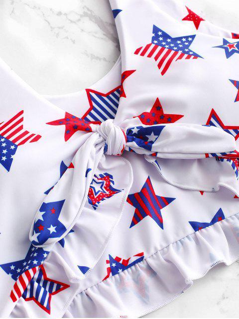 ZAFUL Patriotic American Flag Ruffle Tankini traje de baño - Multicolor-B L Mobile
