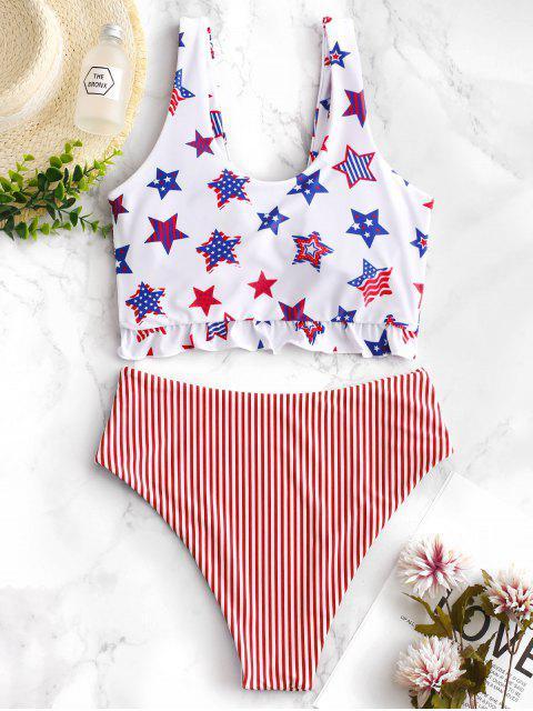trendy ZAFUL Patriotic American Flag Ruffle Tankini Swimsuit - MULTI-B XL Mobile