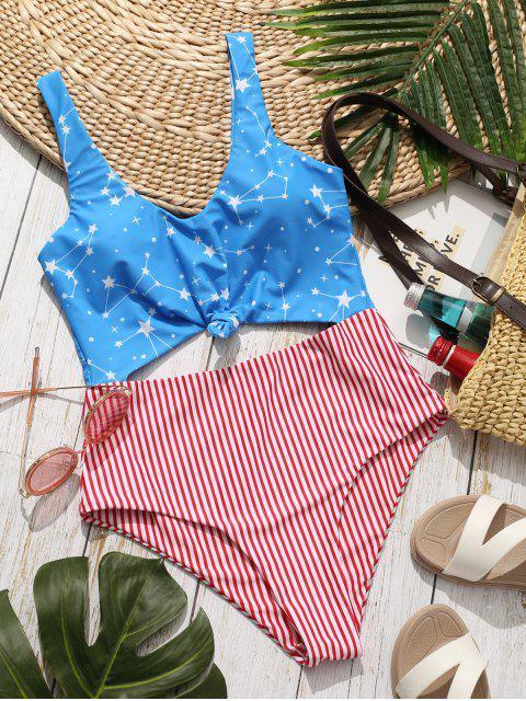 ZAFUL Bañador Monokini Anudado con Bandera Americana - Multicolor-A L Mobile