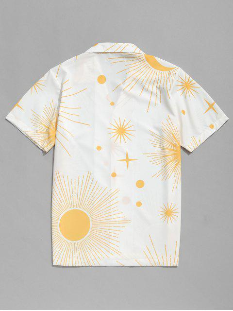 affordable Sparkly Sun and Moon Print Short Sleeves Shirt - WHITE 2XL Mobile