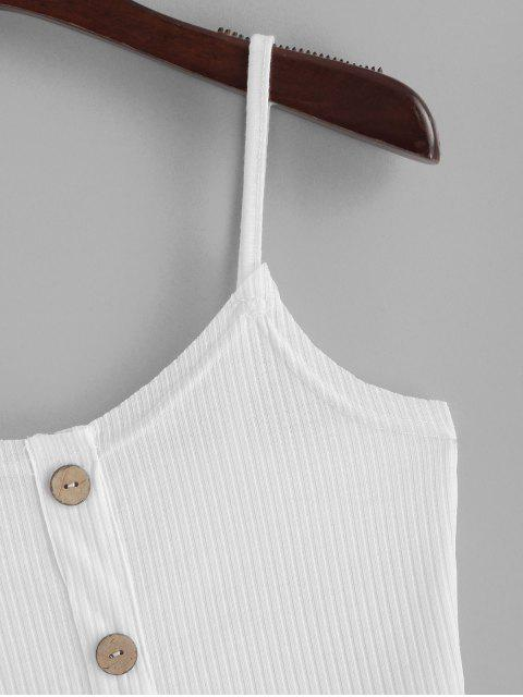 outfits ZAFUL Ribbed Buttoned Bodycon Dress - WHITE S Mobile
