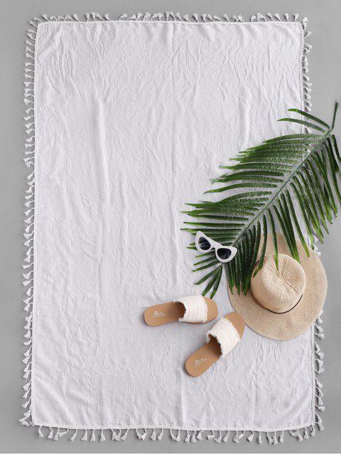 Manta de Playa Rectangular Diesño Impreso Borlas - Blanco Talla única Mobile