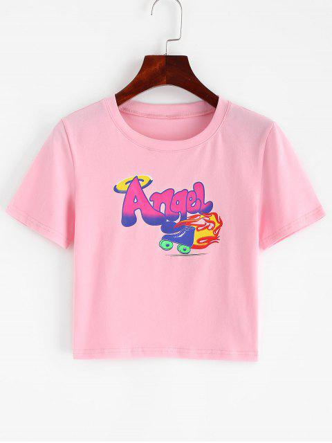 women's Angel Graphic Short Sleeve Crop T-shirt - PINK L Mobile