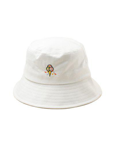 1e8958e4493c Embroidered Ice Cream Pattern Bucket Hat - White ...