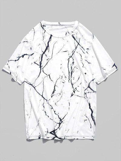 ca1645c77 Marble Grain Print Short Sleeves T-shirt - Natural White Xl ...