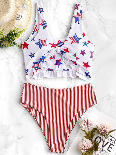 4ddde7b0243bc ZAFUL Patriotic American Flag Ruffle Tankini Swimsuit - Multi-b S ...