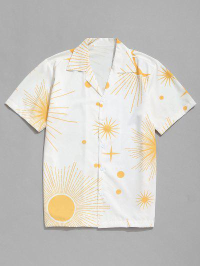 Sparkly Sun And Moon Print Short Sleeves Shirt - White 2xl