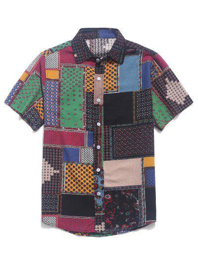 Tribal Ditsy Print Short Sleeves Shirt - Multi-e Xl